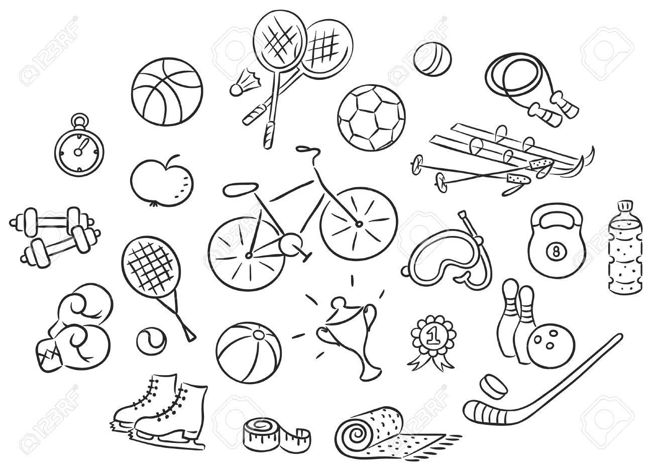 Set Of Cartoon Sport Things Black And White Outline Royalty Free Cliparts Vectors And Stock Illustration Image 50905593