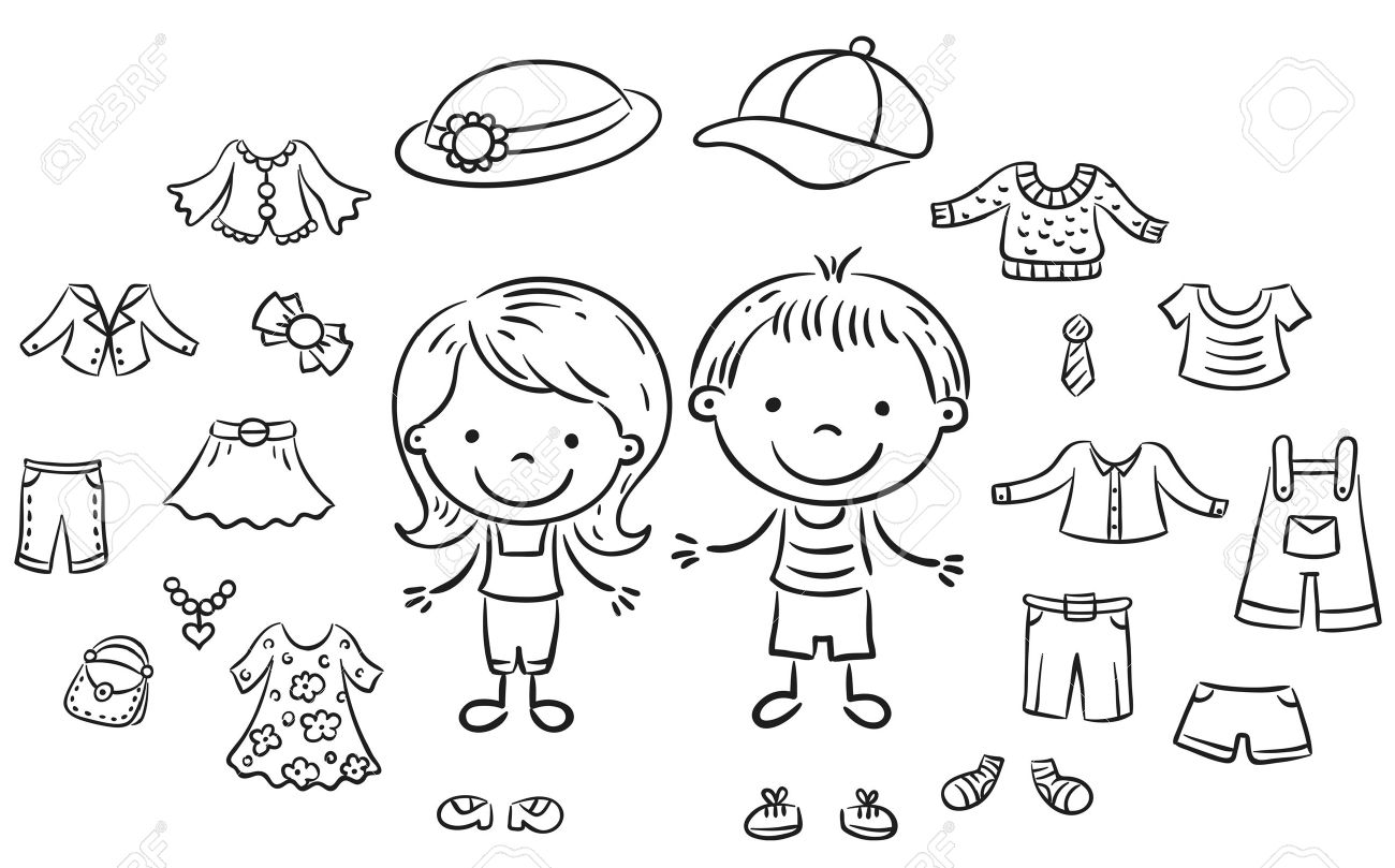 Summer clothes set for a boy and a girl black and white outline stock vector