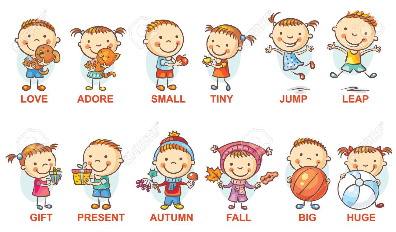 Vettoriale Personaggi Dei Cartoni Animati Colorati Che Illustrano