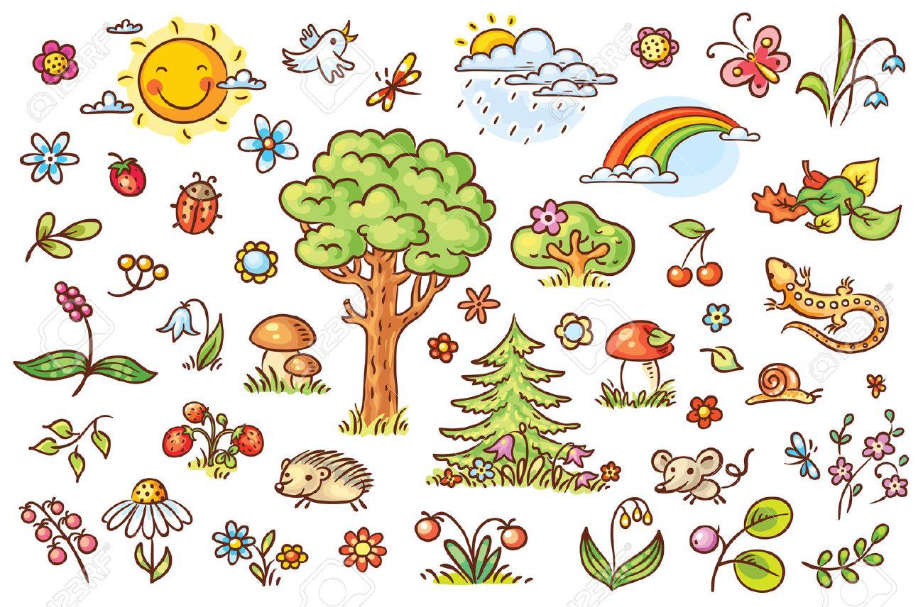 La Naturaleza Conjunto De Dibujos Animados Con árboles Flores Bayas Y Pequeños Animales Del Bosque No Degradados