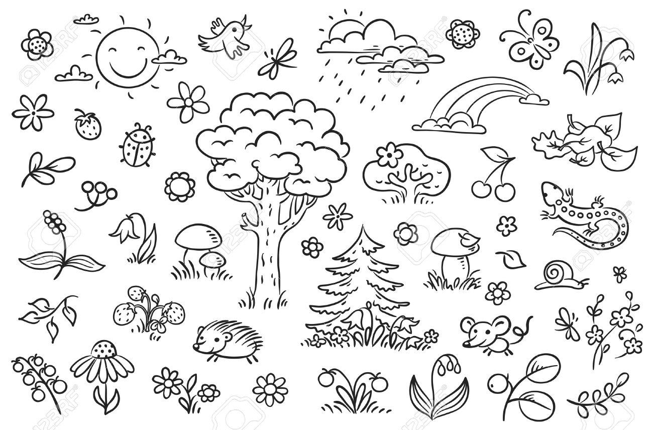 La Naturaleza Conjunto De Dibujos Animados Con árboles Flores Bayas Y Pequeños Animales Del Bosque Esquema En Blanco Y Negro