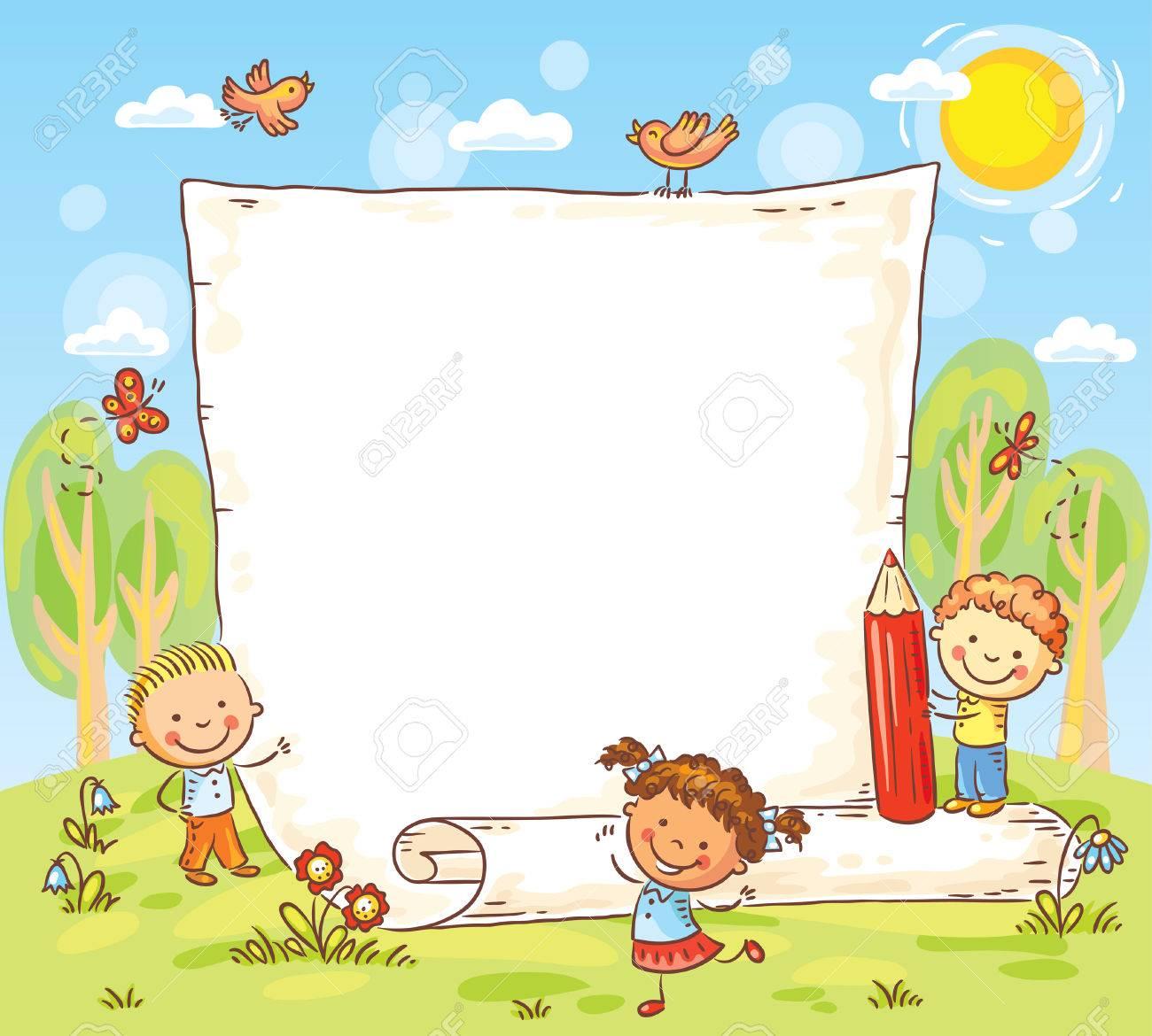 Marco De Dibujos Animados Con Tres Niños Al Aire Libre, Vector ...