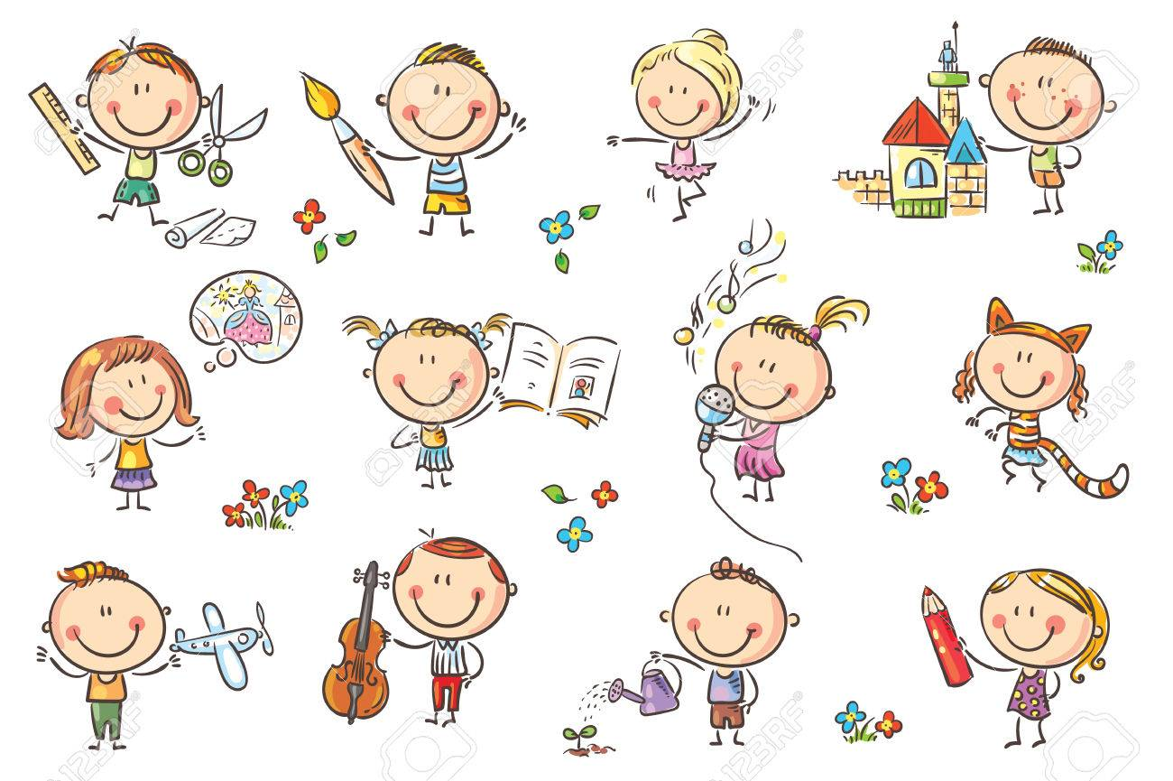 Funny cartoon kids engaged in different creative activities like drawing, singing, modelling and so on. No gradients used, easy to print and edit. Vector files can be scaled to any size. - 85329843