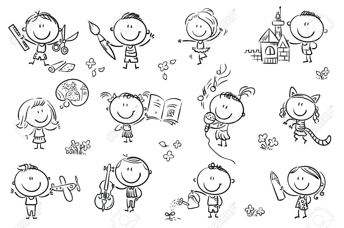 Divertidos Ninos De Dibujos Animados Dedicados A Diferentes