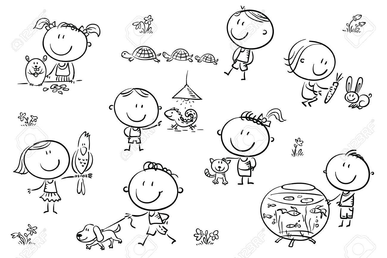 Felices Dibujos Animados Ninos Incompletos Con Diferentes Mascotas