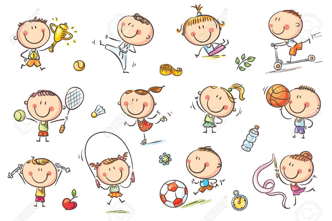Active kids with sport things representing healthy lifestyle. No gradients used, easy to print and edit. Vector files can be scaled to any size. - 87623669