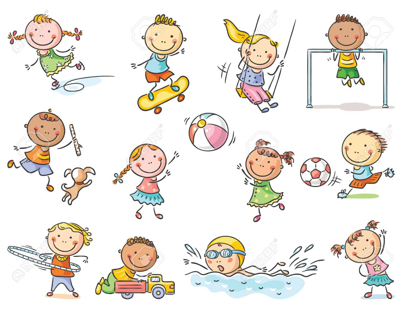 Little Cartoon Kids Activities Playing Outdoor Games Or Going Royalty Free Cliparts Vectors And Stock Illustration Image 110348725