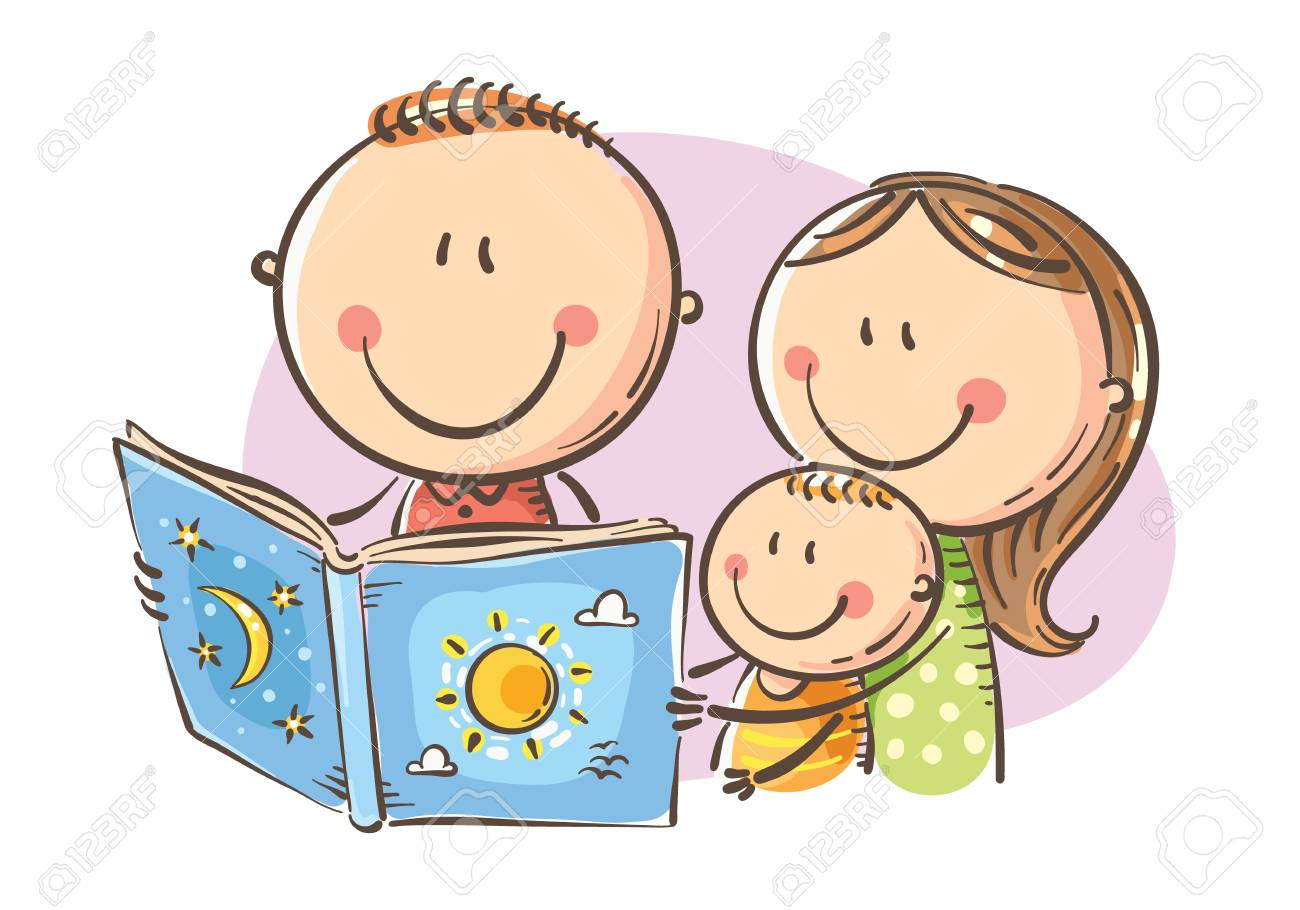 Cartoon mother, father and son reading a book together, Vector, Childs Drawing - 110076574