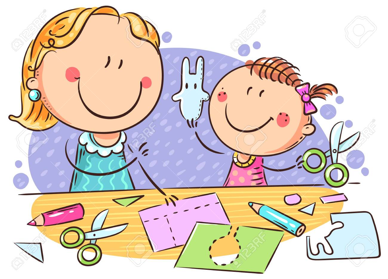 Mother or teacher and a little girl enjoy crafting together, colorful illustration - 136175256