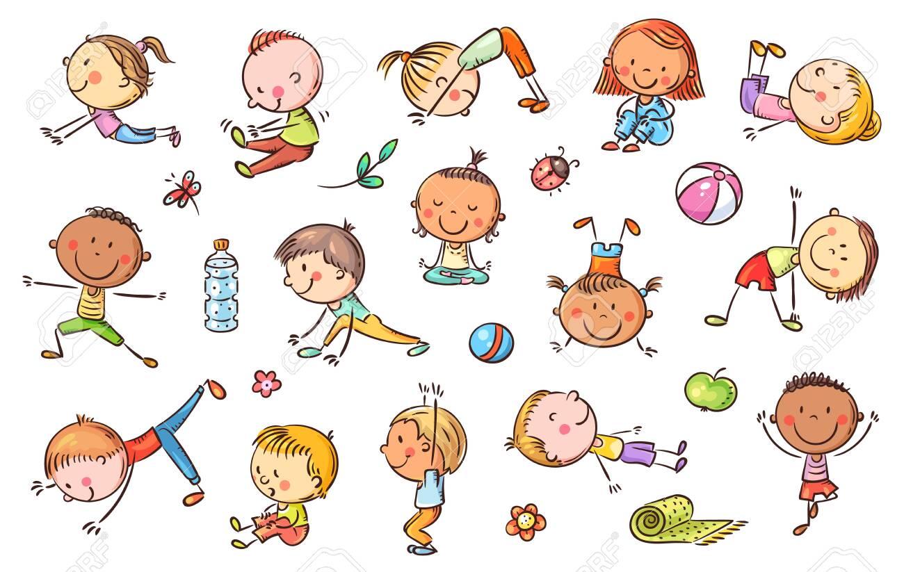 Yoga kids set, vector cliparts, doodle drawings - 139332154