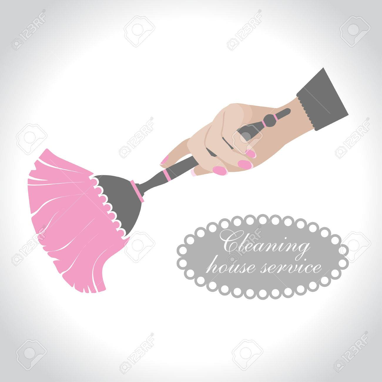 house cleaning, vintage logo  Female hand holding a broom for