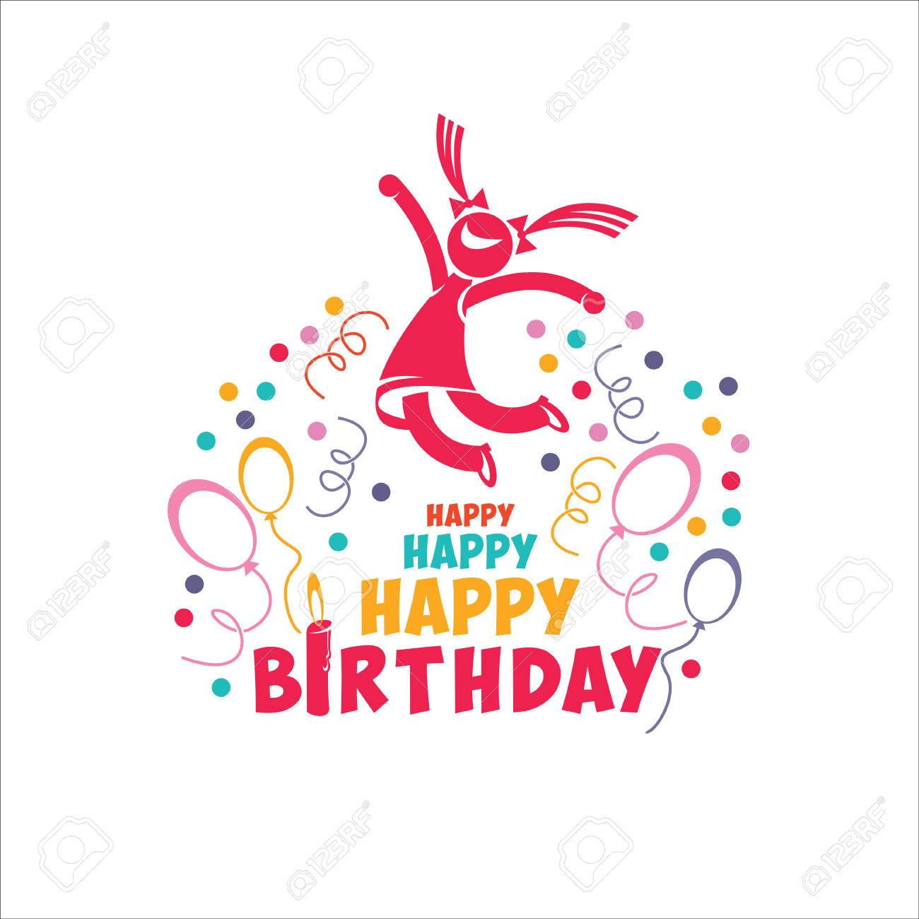 Happy Birthday Vector Illustration A Joyful Person Woman Girl