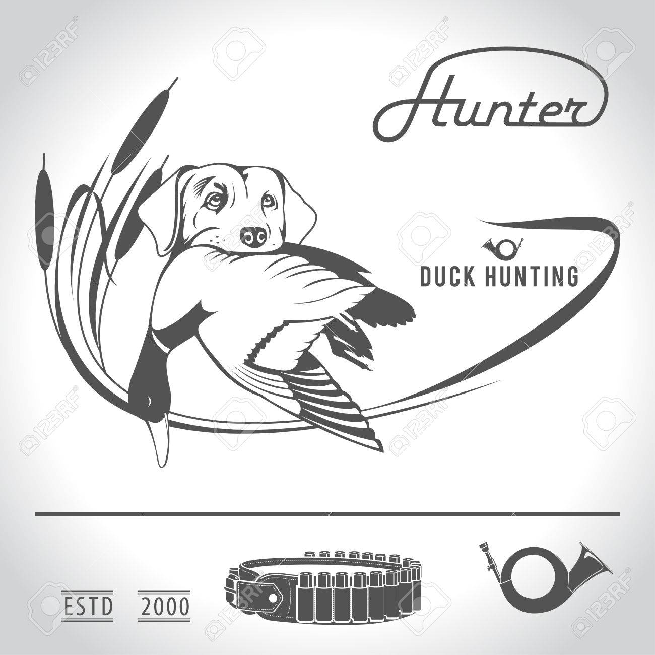 Hunting logo hunting dog with a wild duck in his teeth and design elements. The outfit of the hunter. - 60501031