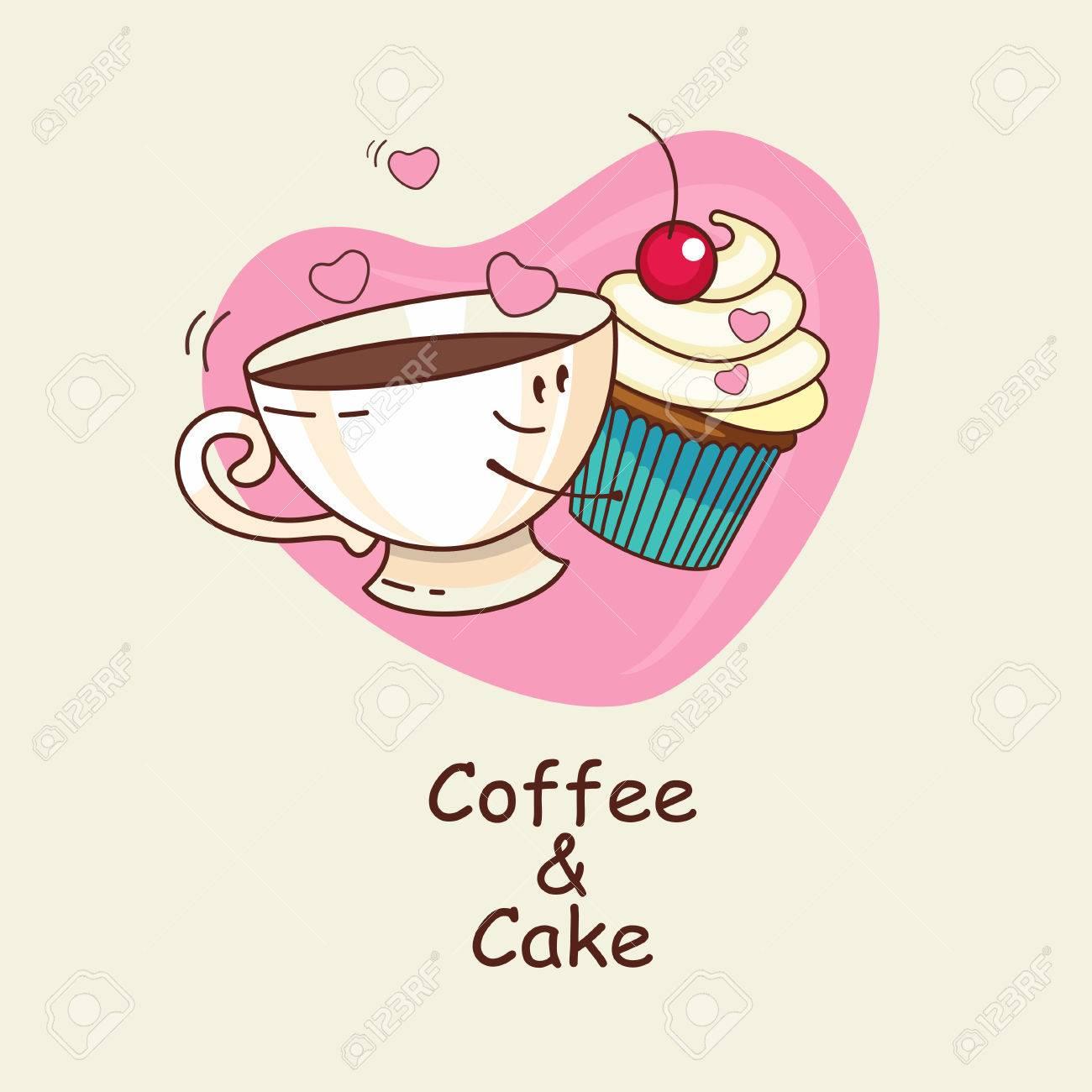 Kaffee Und Kuchen Auf Dem Hintergrund Herz Die Liebe Fur Immer