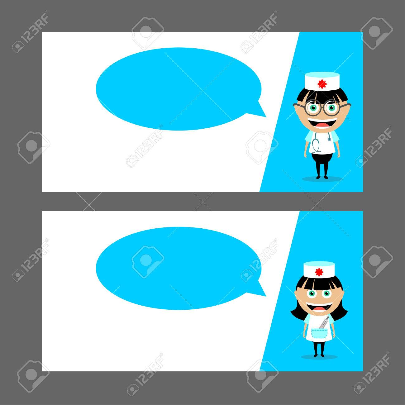 Doctor, Nurse With Stethoscope And Thermometer. Speech Balloon ...