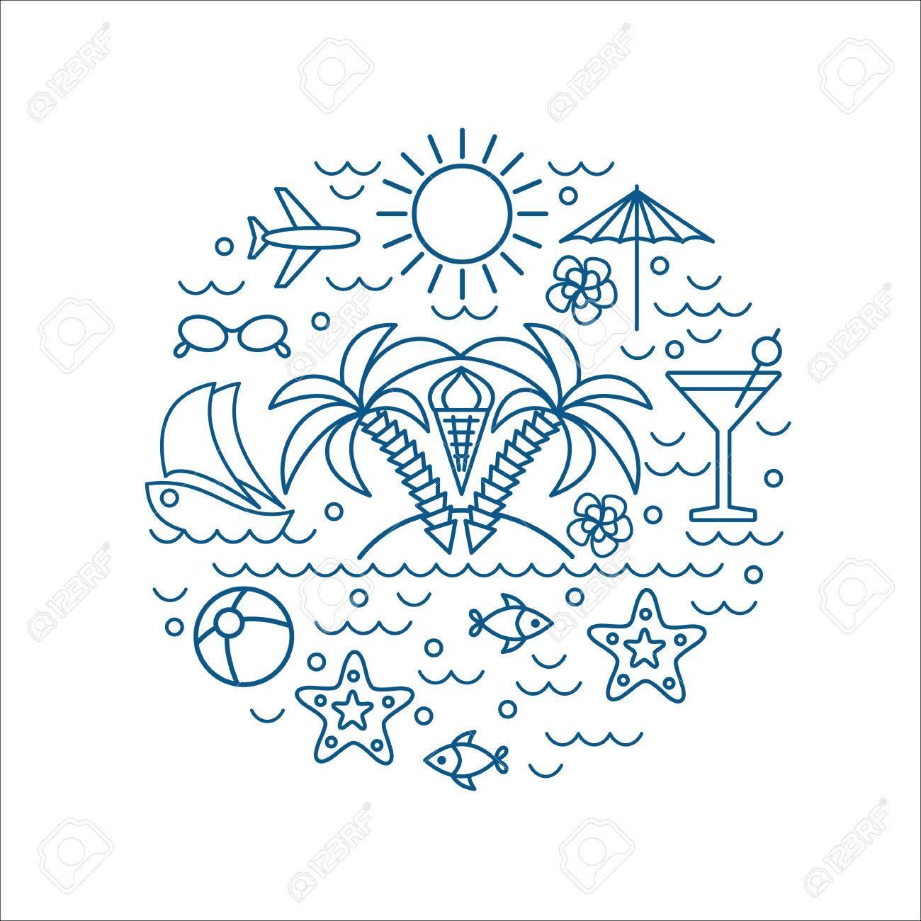 Ich Liebe Sommer, Palmen, Vektor Sommer Und Urlaub Poster Oder Druck ...