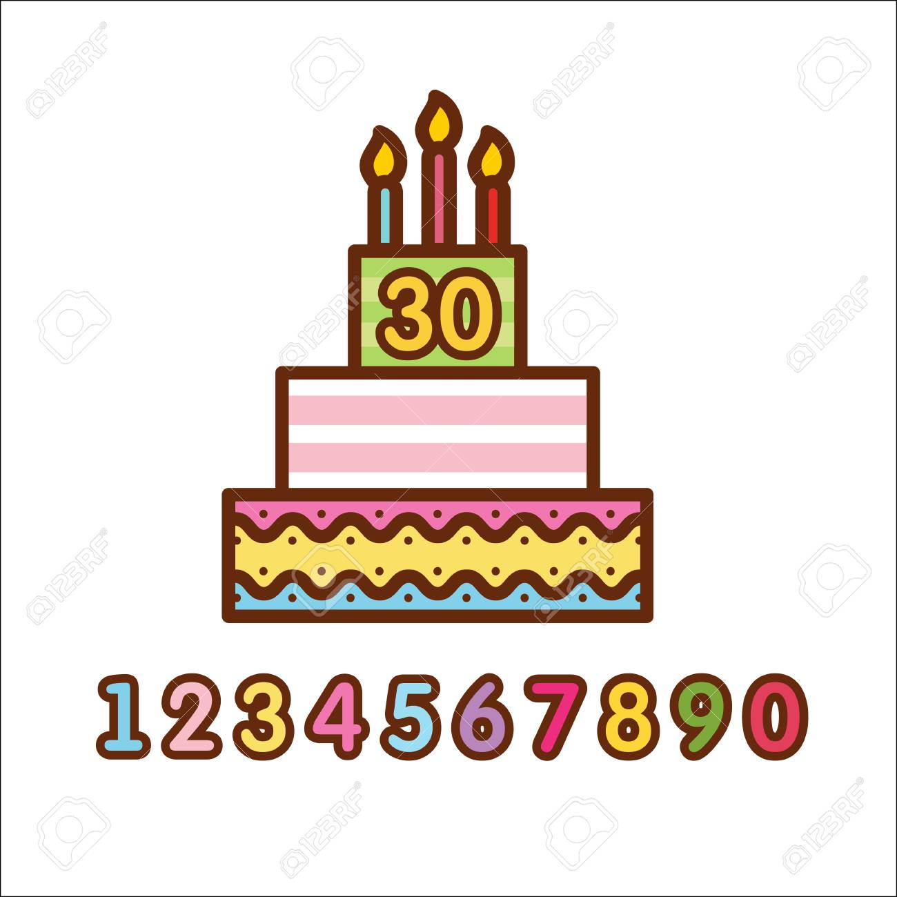Cake Birthday Cake With Candles Vector Icon Royalty Free Cliparts