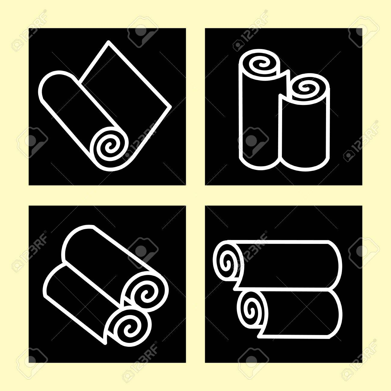 Wallpaper Set Of Vector Icons On Black Background Rolls