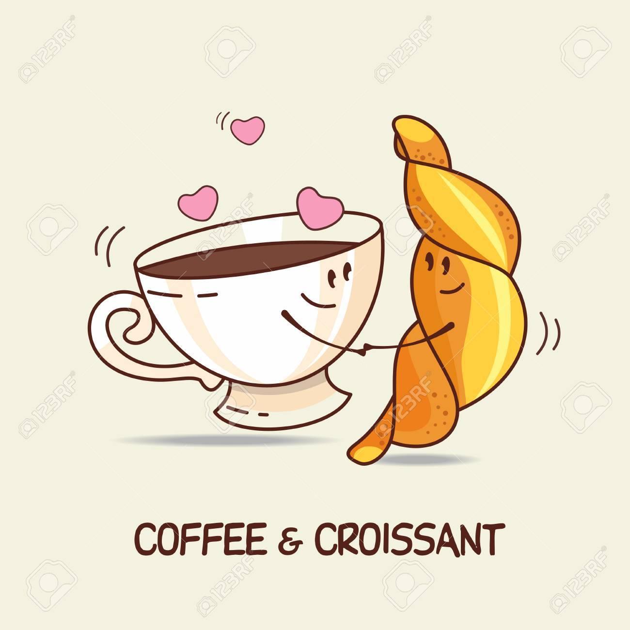 Kaffee Und Croissant Liebe Fur Immer Comic Cartoon Vektor