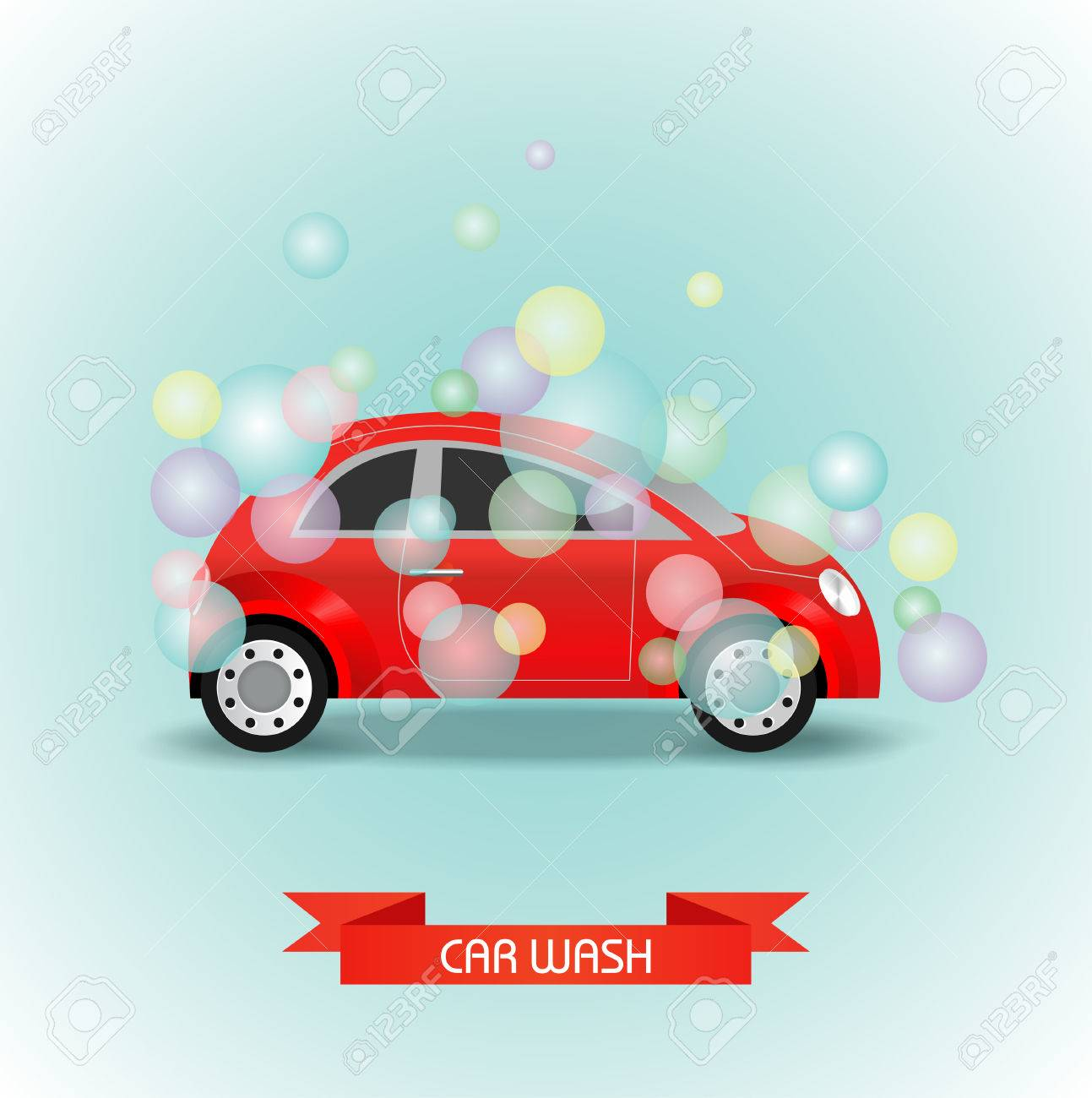 Car Wash Vector Illustration. The Car Is Red In Multi-colored Soap ...