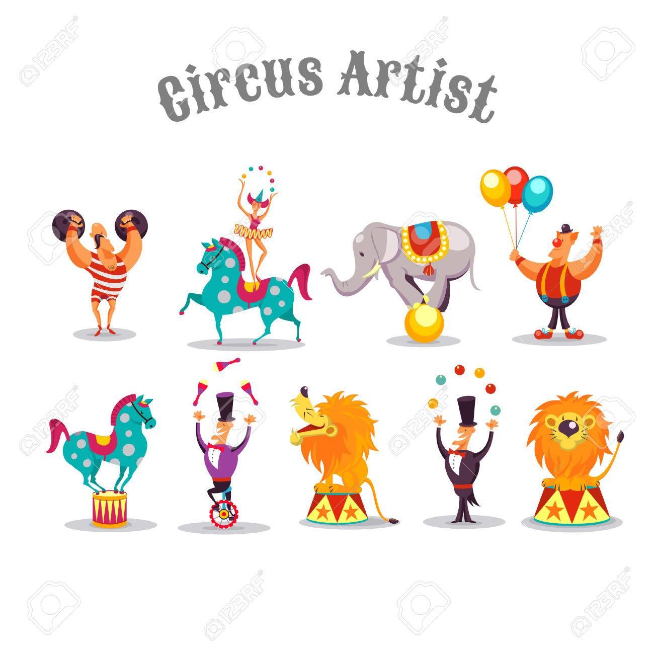 Artistes De Cirque Ensemble De Caracteres Vectoriels Homme Fort