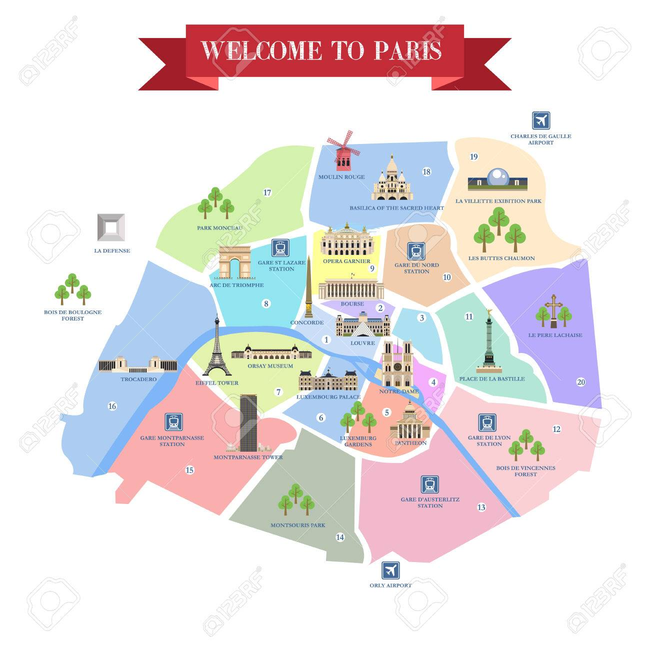 detailed map of paris famous landmarks cathedrals museums palaces parks