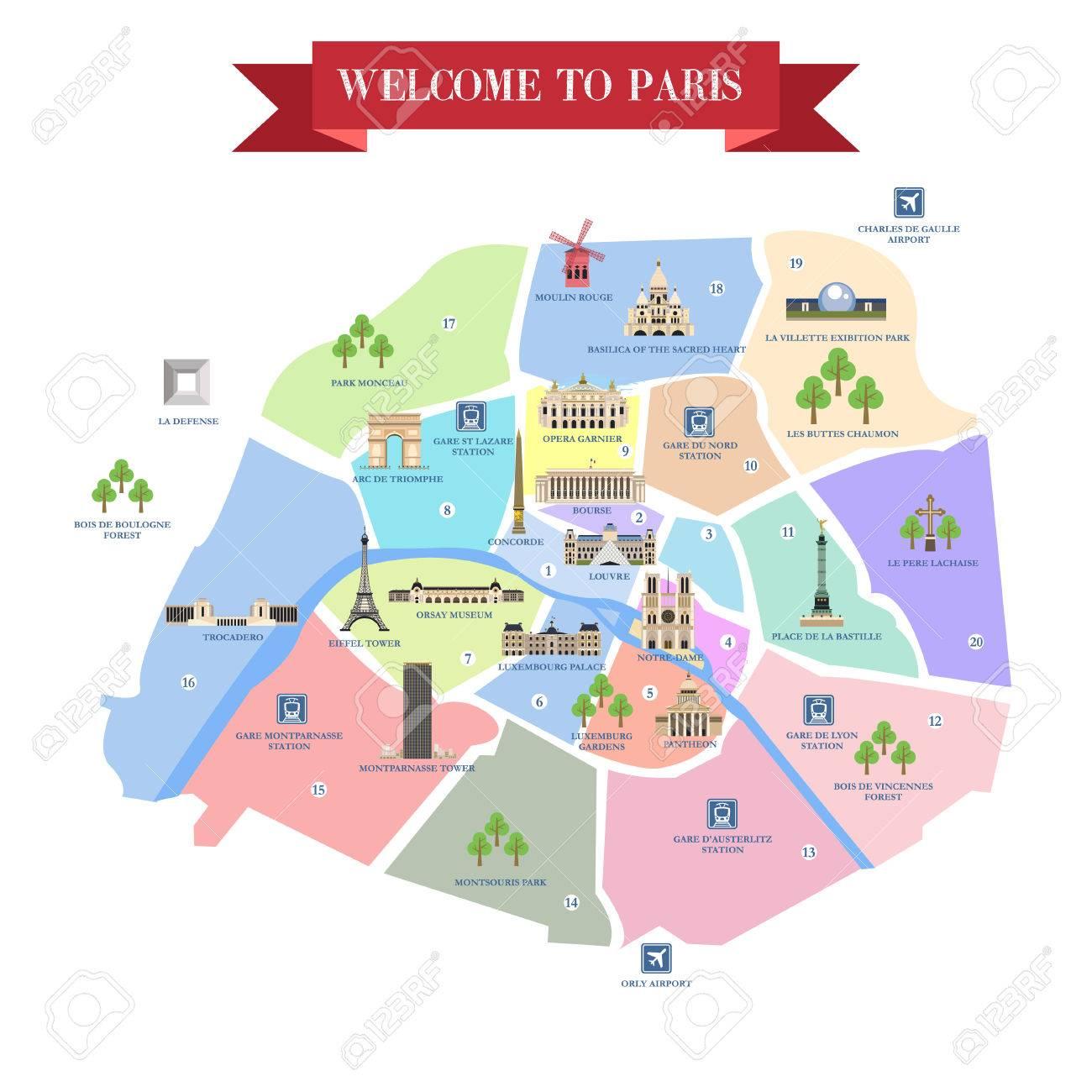 mapa de paris com monumentos Mapa Detallado De París. Famosos Monumentos, Catedrales, Museos  mapa de paris com monumentos