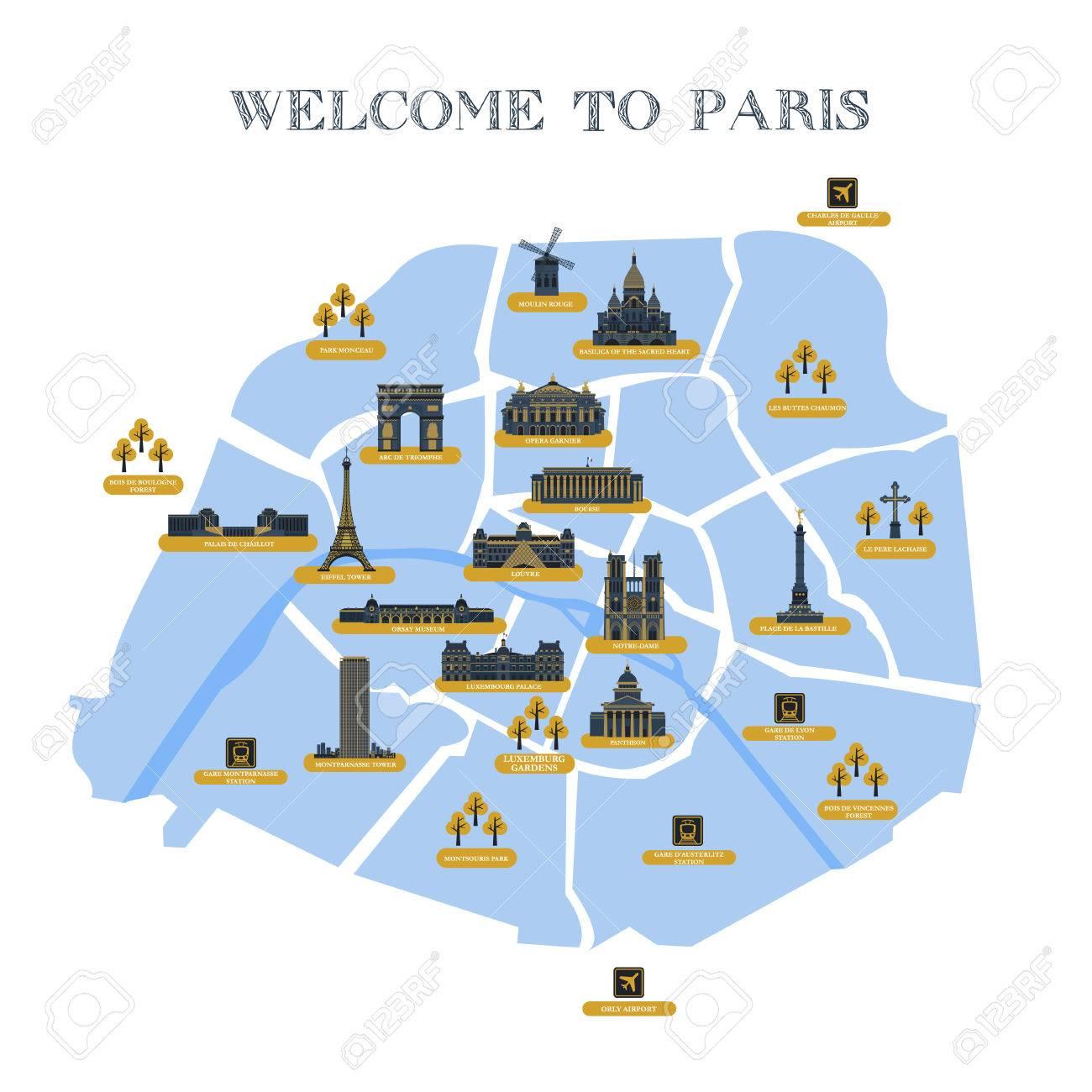 Super Carte Détaillée De Vecteur De La Ville De Paris, Avec Des  VU41