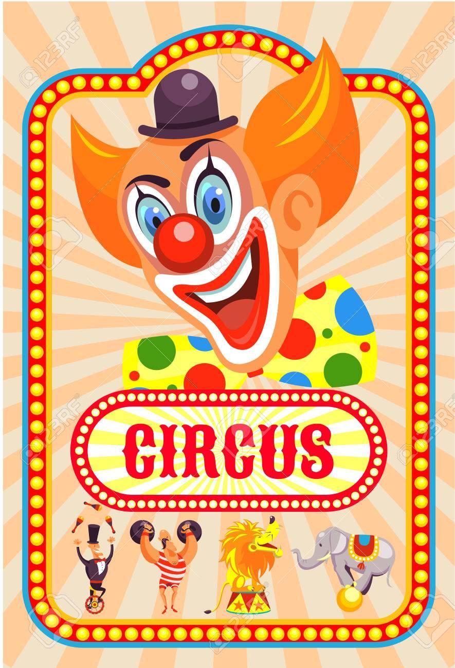 Affiche De Cirque Clown Joyeux Vous Invite Au Cirque Animaux