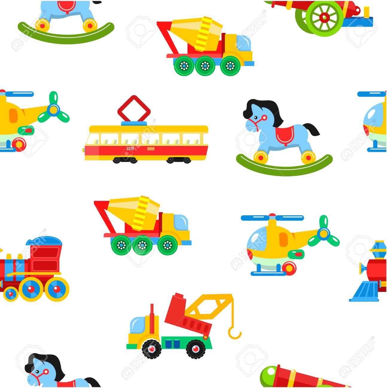 Bebé Juguetes De Patrones Sin Fisuras. Ilustración Vectorial Un ...