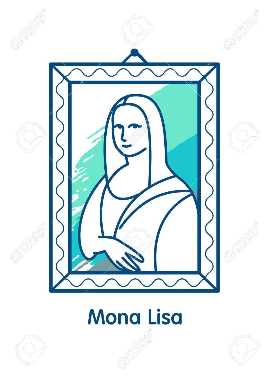 vector icon the mona lisa a work of art isolated linear rh 123rf com