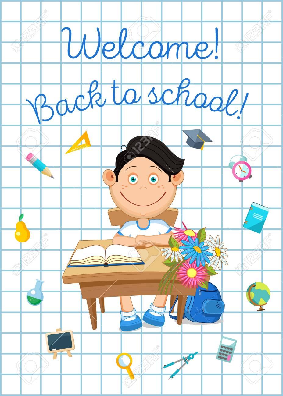 戻る学校イラスト。生徒や学校用品。 ロイヤリティフリークリップアート