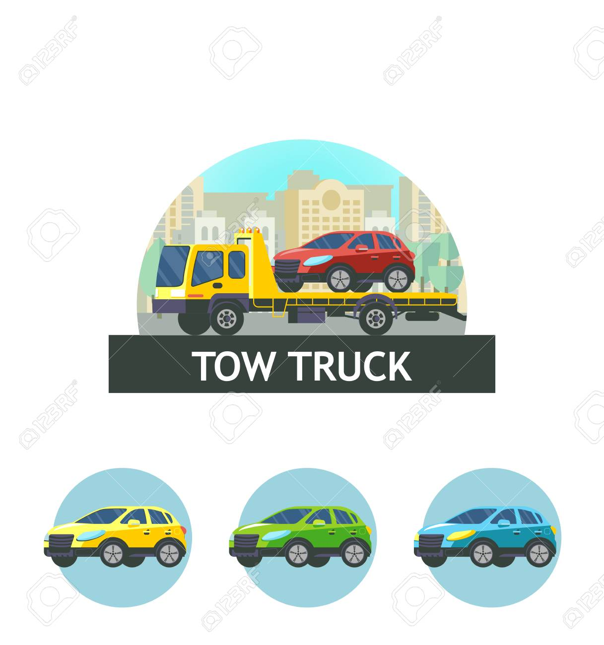 tow truck for transportation faulty cars vector illustration