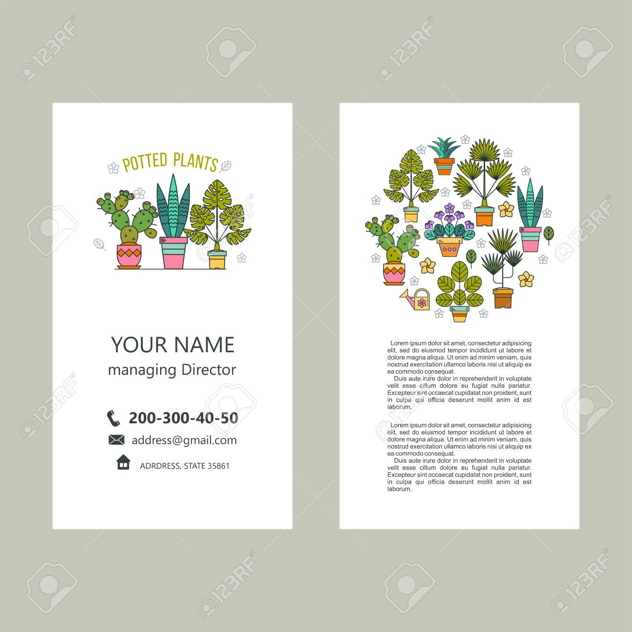 Potted Plants. Vector Illustration. Business Cards, Flyer. Isolated ...