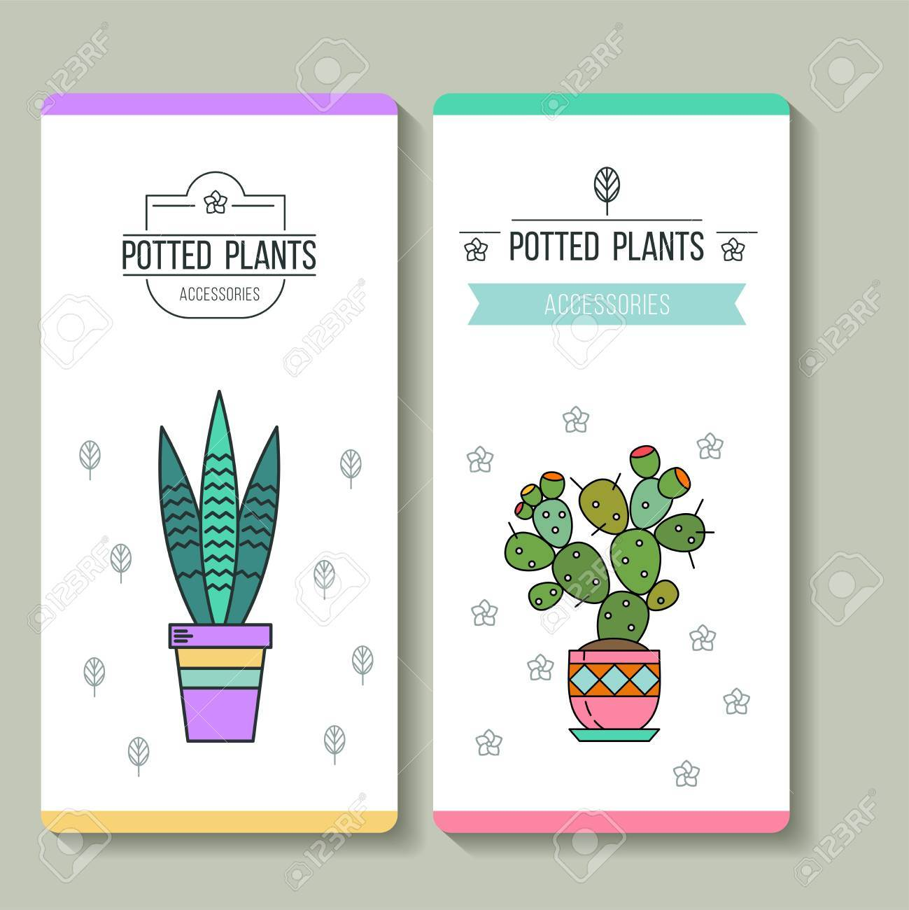 Plantes En Pot Cartes De Visite Fleuriste Illustration