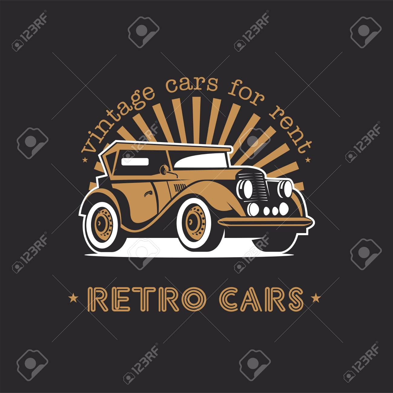 Vintage Cars For Rent. Retro Car. Vector Logo On A Black Background ...