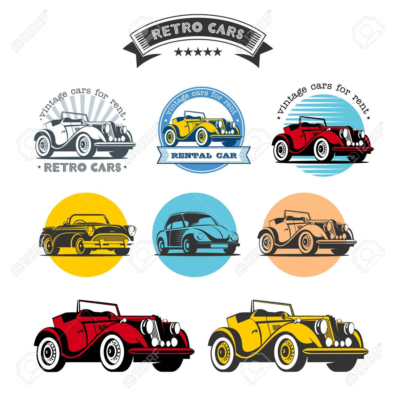 Retro Cars. Set Of Vector Logos, Icons. Vintage Cars For Rent ...