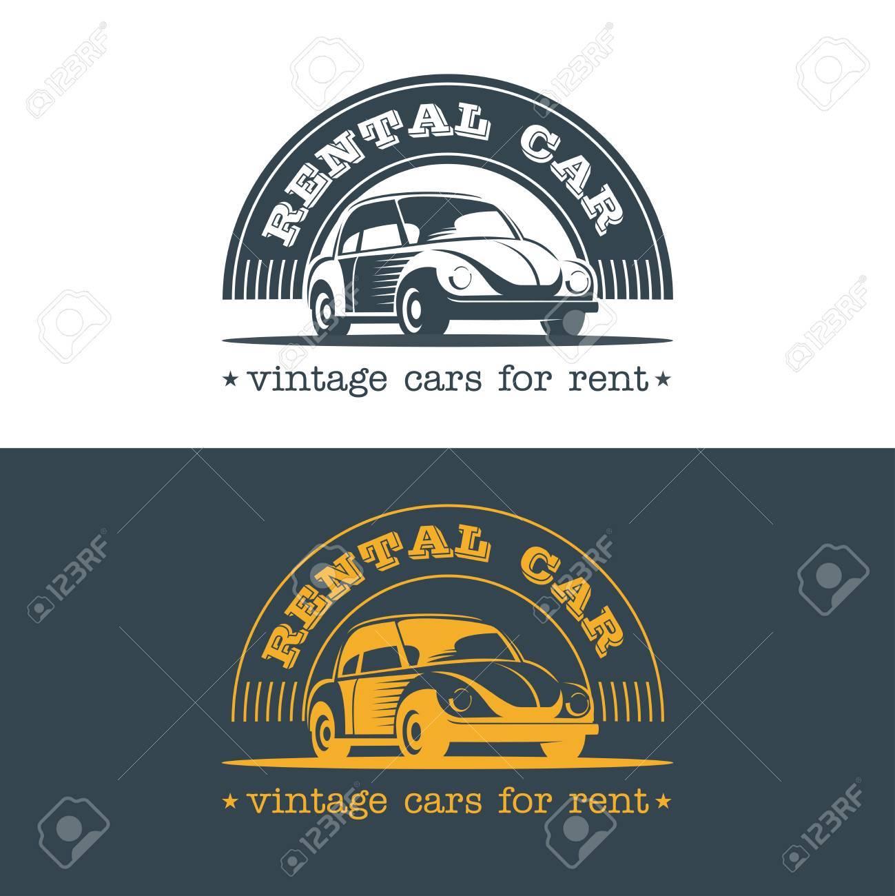 Vintage Car Rental. Vector Logo. Logo For Shop Of Cars, Car Hire ...