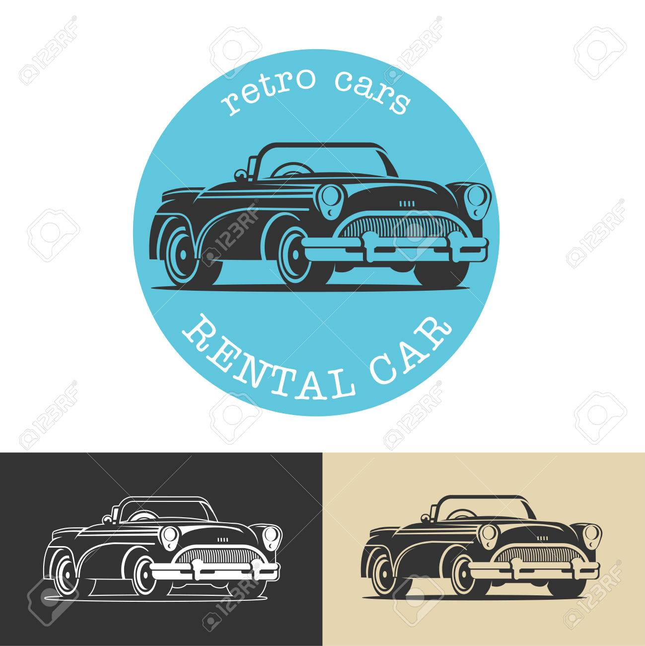 Vintage Car. Black Vector Sign, Logo, Retro Cars For Rent. Royalty ...