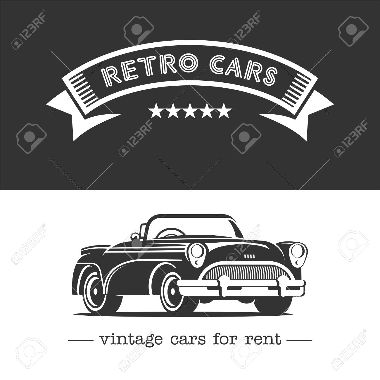 Vintage Car. Monochrome Vector Logo. Retro Cars For Rent. Royalty ...