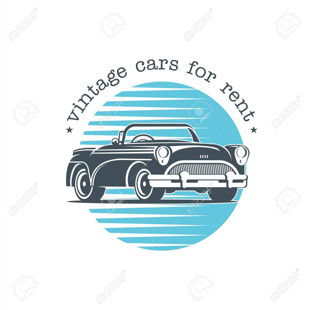 Vintage Car. Vector Badge, Logo, Retro Cars For Rent. Royalty Free ...