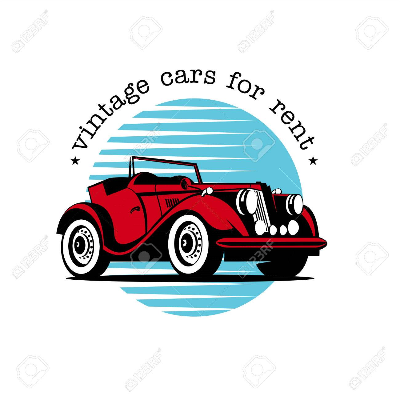 rental of vintage cars vector logo red vintage convertible rh 123rf com antique car vector vintage car vector art