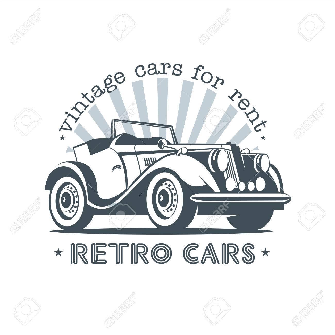 Retro Car Convertible. Vintage Cars For Rent. Vector Logo. Royalty ...