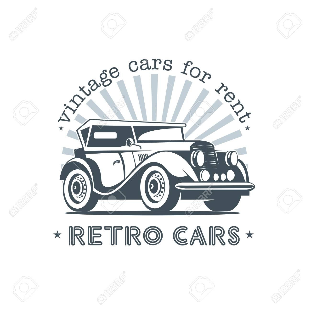 Retro Car Vintage Cars For Rent. Vector Logo In A Retro Style ...