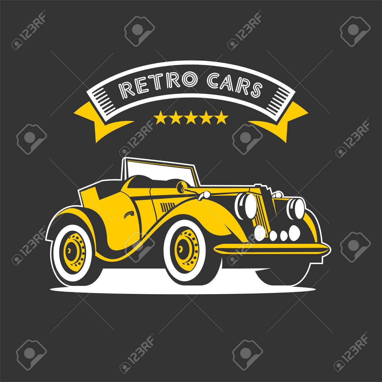 Rental Of Vintage Cars. Vector Logo. Vintage Yellow Convertible ...