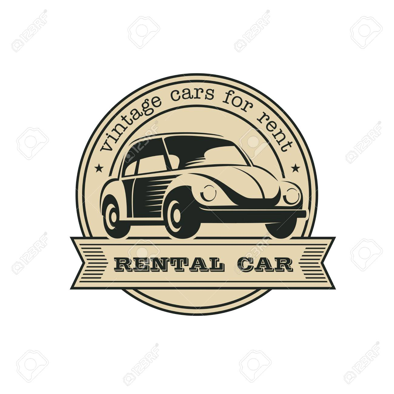 Rental Of Vintage Cars. Vintage Cars For Rent. Monochrome Vector ...