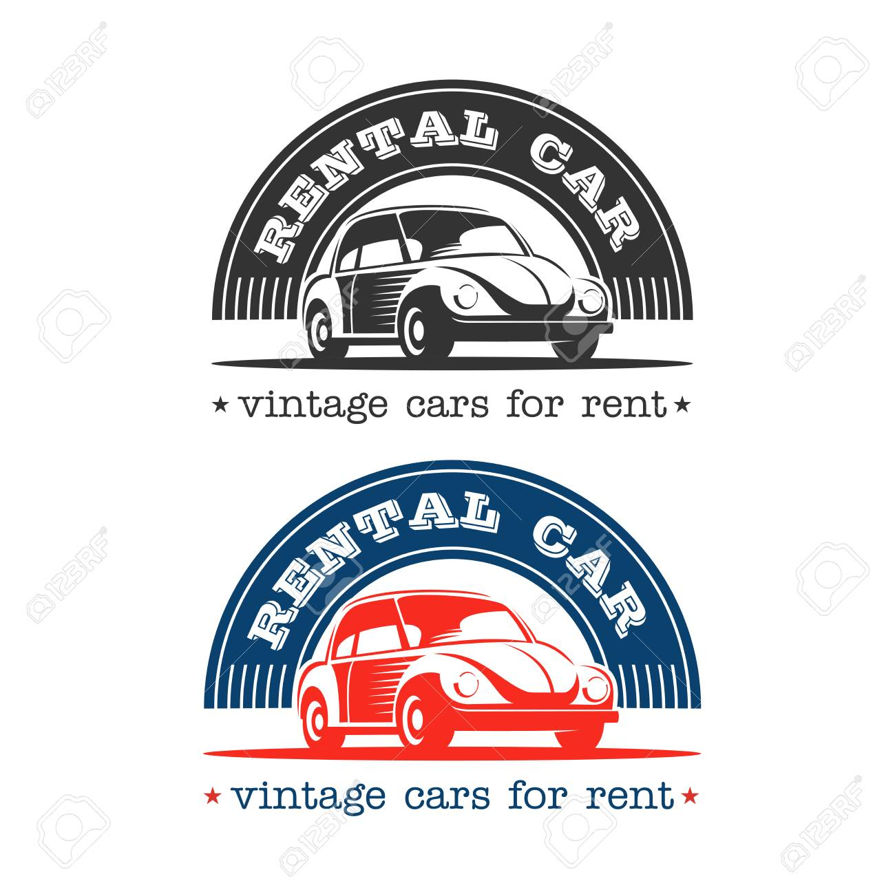 Rental Of Vintage Cars. Vintage Cars For Rent. Vector Logos ...