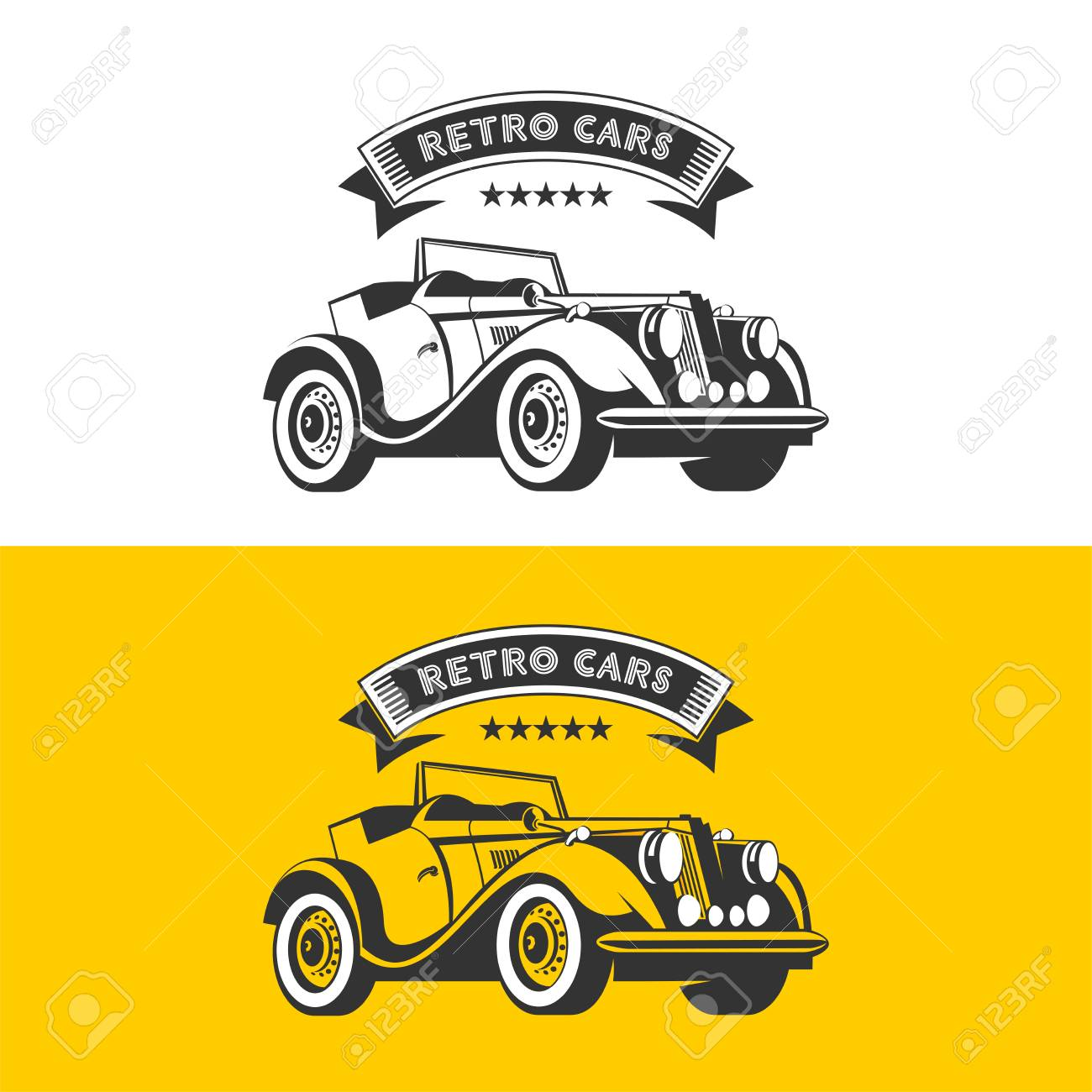 Rental Of Vintage Cars. Vector Logo. Vintage Car Convertible ...