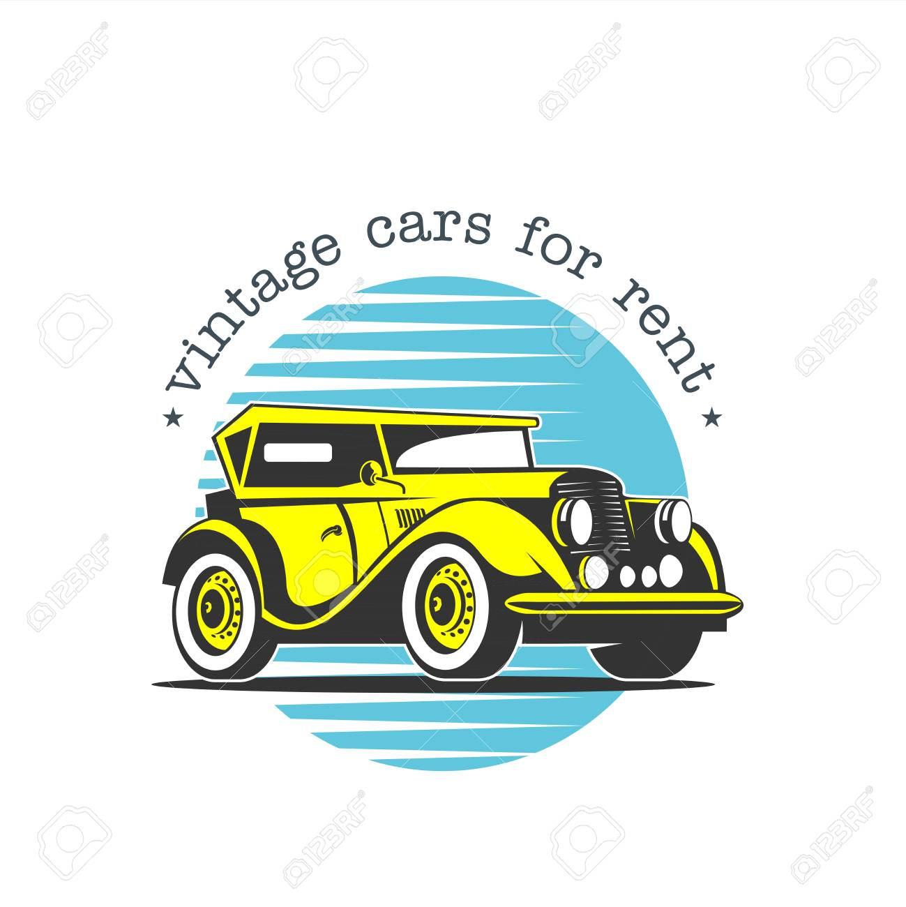 Rental Of Vintage Cars. Vector Logo. Vintage Yellow Car. Isolated ...