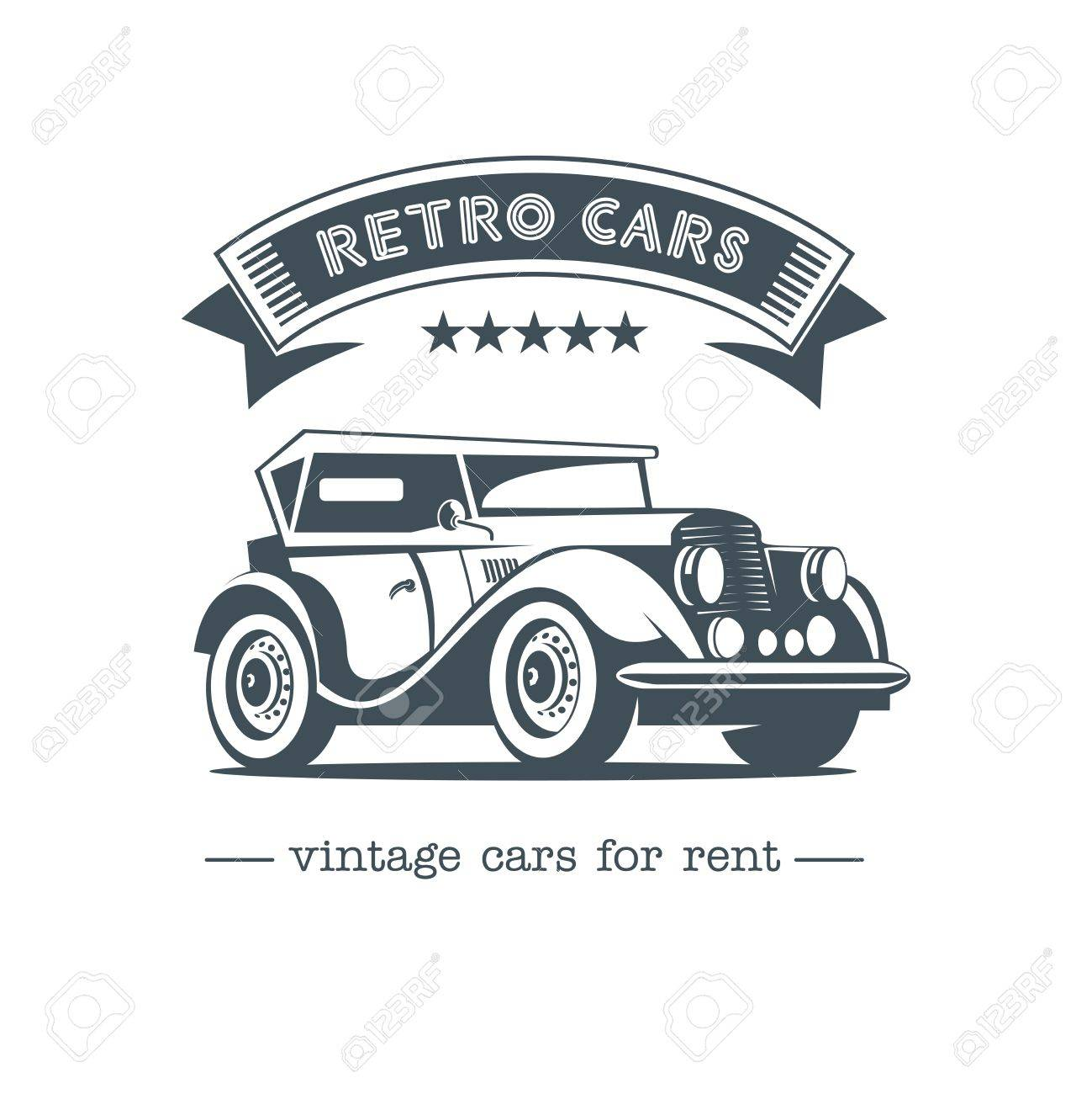 Retro Car. Vintage Car Vector Logo. Vintage Cars For Rent. Isolated ...